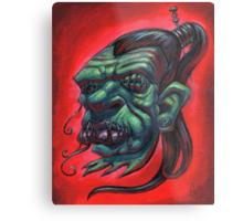Shrunken Zombie Head Metal Print