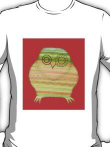 Colourful owl linework stripey T-Shirt