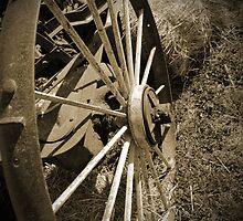 Antique Wagon Wheel Sepia by Adri Turner