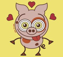 Funny pig feeling madly in love Kids Clothes