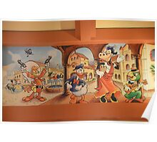 Vintage Disney Animation Donald Duck Mickey Mouse Clarabelle Cow Poster