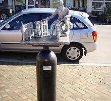 """""""the Postie"""" -  Deloraine oxygen cylinder artwork by gaylene"""