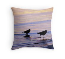 Purple & Blue Pied  Sooty Oystercatcher Sunset Throw Pillow