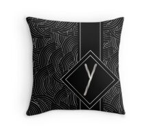1920s Jazz Deco Swing Monogram black & silver letter Y Throw Pillow