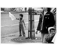 """Collector, On the Way to M.Cartier Bresson """" Careless passers and dangerous game boy !  """" Paris 1975 15 (b&n)(t) by Olao-Olavia par Okaio Création  Poster"""