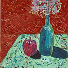 Still Life in Green & Red - Acrylic on Canvas -for Sale.... $ 300 by Elle Gamboa