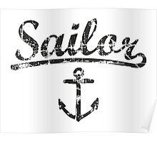 Sailor Anchor Vintage Black  Poster
