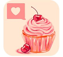 Berry Heart Cupcake Photographic Print
