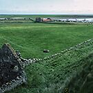 From top of Monastery rampart across ruins and Lindisfarne to Castle Northumberland England 198405290015  by Fred Mitchell