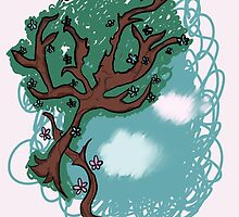 Twee Tree with Clouds and Flowers by cynicalparakeet