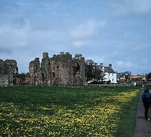 Fred walking to old monastery Holy Isle Northumbria England 198405290018m by Fred Mitchell