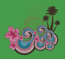 Tropical Waves & Pink Hibiscus Kids Clothes