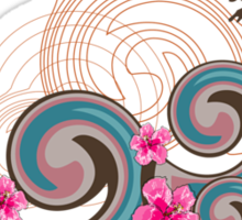 Tropical Waves & Pink Hibiscus Sticker