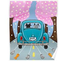 Just Married Cats Poster