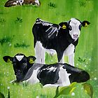 Calves in the meadow by Connie  Danaher