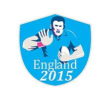 Rugby Player Fending England 2015 Shield Photographic Print