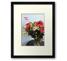 Fuchsia, White & Teal With Love Framed Print