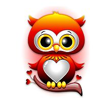 Baby Owl Love Heart Cartoon  Photographic Print