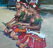 Three Melanesian Girls by laillustrator