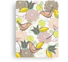 Pink Floral Potpourri Garden & Birds Canvas Print