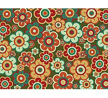 Retro Pop Red and Green Daisies Photographic Print