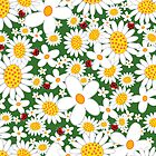Whimsical Summer White Daisies & Red Ladybugs by fatfatin