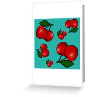 Retro Cherry Pattern on Teal Greeting Card