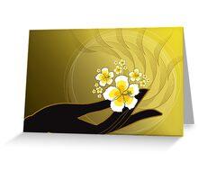 Buddha's Hand and White Hibiscus Greeting Card