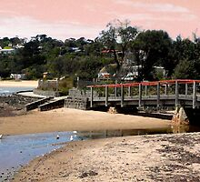 Beach and Bathing Boxes, Mornington Peninsula by Roz McQuillan