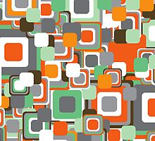 Retro Orange & Mint Squares by fatfatin