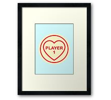 Geeky Love Hearts - Player 1 Framed Print