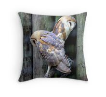 Two Of a Kind - Barn Owls Throw Pillow