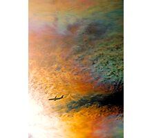 Iridescent cloud and aircraft. Photographic Print