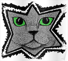 Pixel Cat Black and White Poster