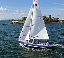 Blue sailboat leaving the Newport Harbor   Bay series 2008 by Jack McCabe