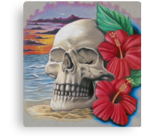 skull with hibiscus Canvas Print