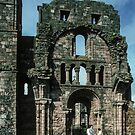 Entrance to church ruin Holy Isle Lindisfarne Northumbria England 198405290025  by Fred Mitchell