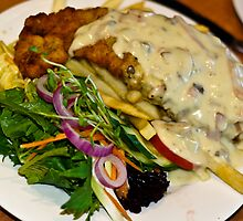 Food: Veal Schnitzel at Emeralds Restaurant  by Vanessa Pike-Russell