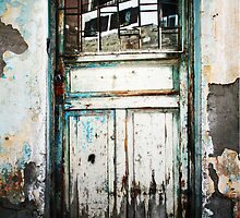 Door And Reflection In Flaking Paint by Josh Wentz