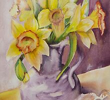Daffodils and Sea Shells II by Marsha Woods