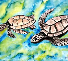 pair of sea turtles watercolor painting by derekmccrea