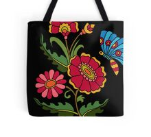 flower and butterfly black Tote Bag