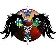 COLORFUL SKULL WITH WINGS - Marbles Photographic Print