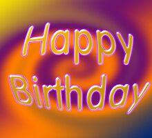 Groovy Happy Birthday Card by Donna Grayson