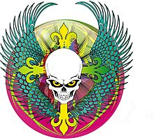 COLORFUL SKULL WITH WINGS - Bright Colors Photographic Print