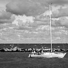 Black & White Sailboat - Trio by Jeff Lowe