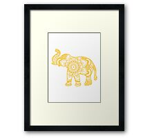 Mandala Elephant Yellow Framed Print