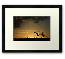 Happy Dancing Giraffes Framed Print