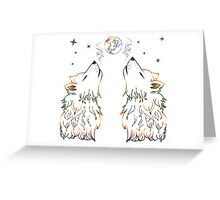 Colorful Howling Wolf 2 Greeting Card