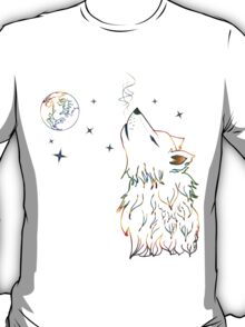Colorful Howling Wolf 3 T-Shirt